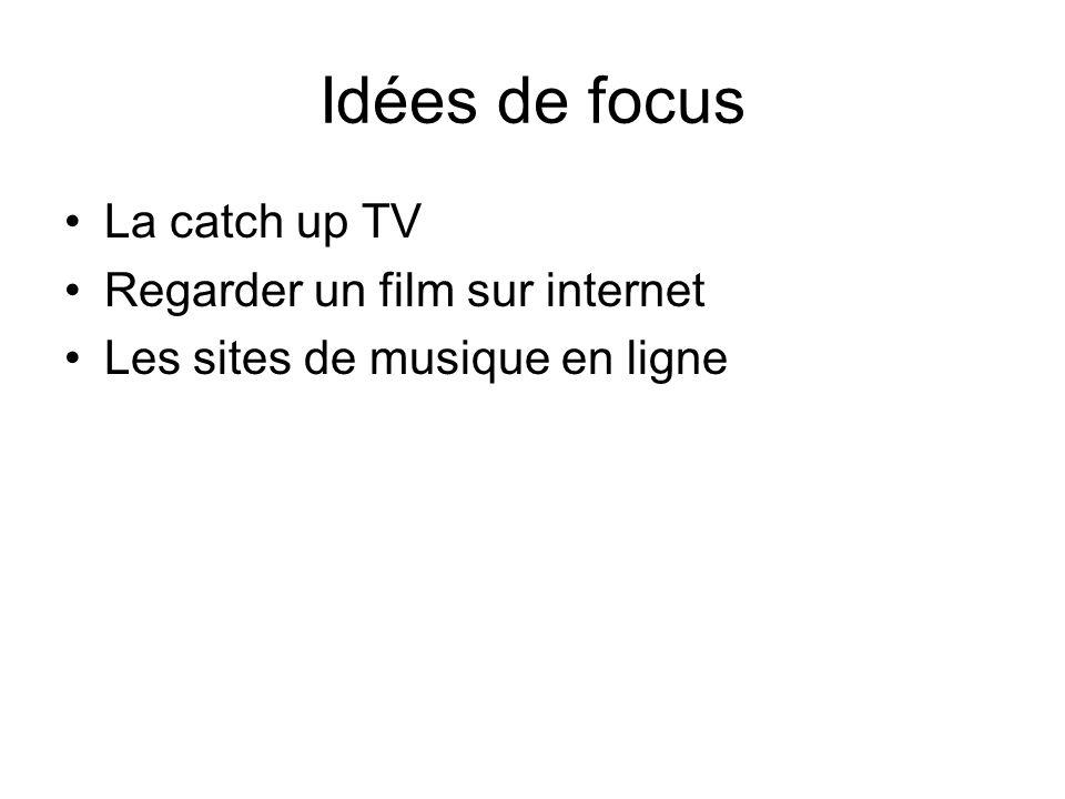 Idées de focus La catch up TV Regarder un film sur internet Les sites de musique en ligne