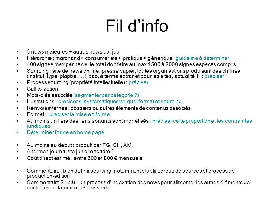 Fil dinfo 3 news majeures + autres news par jour Hiérarchie : marchand > consumériste > pratique > générique : guideline à déterminer 400 signes max p