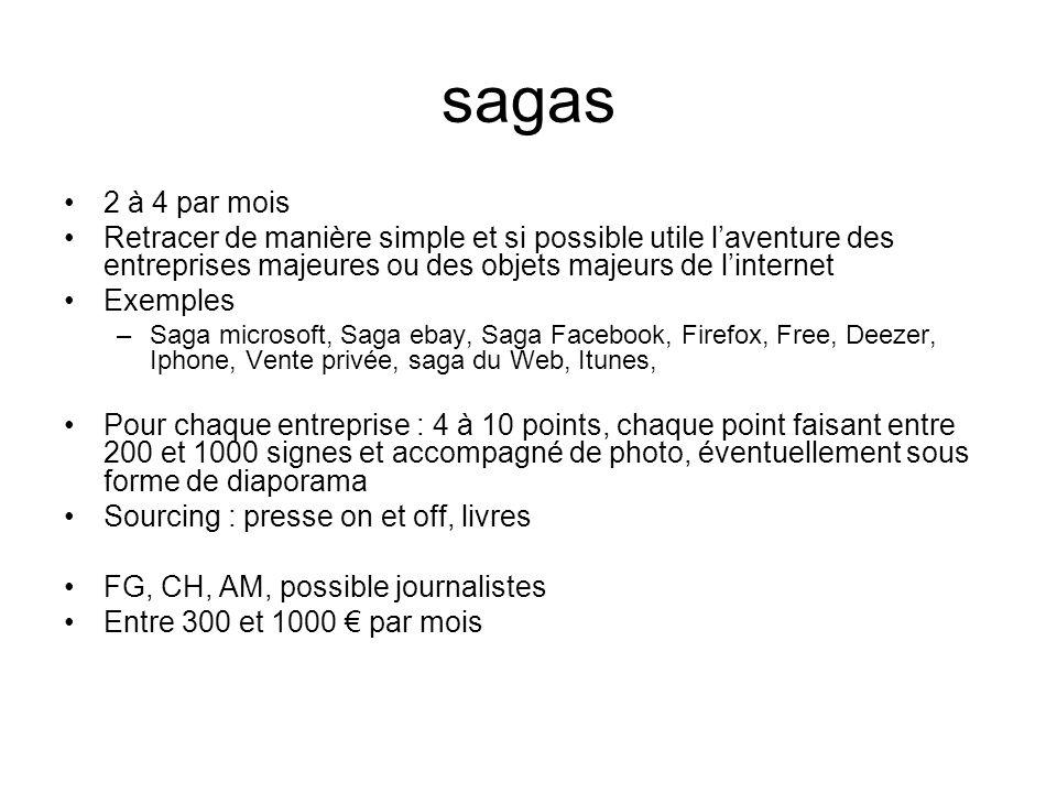 sagas 2 à 4 par mois Retracer de manière simple et si possible utile laventure des entreprises majeures ou des objets majeurs de linternet Exemples –S