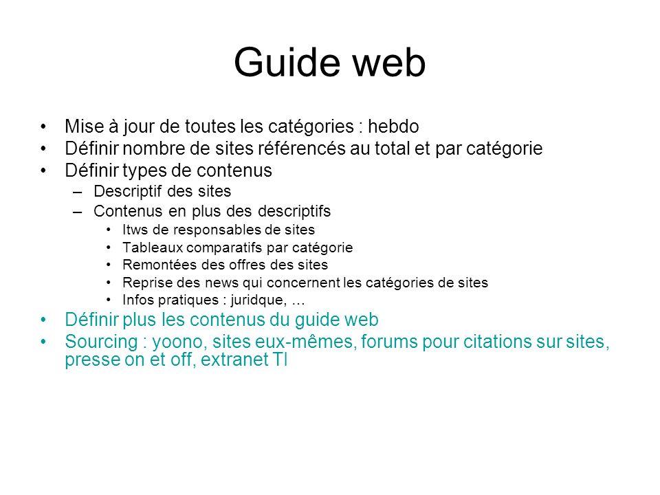 Guide web Mise à jour de toutes les catégories : hebdo Définir nombre de sites référencés au total et par catégorie Définir types de contenus –Descrip