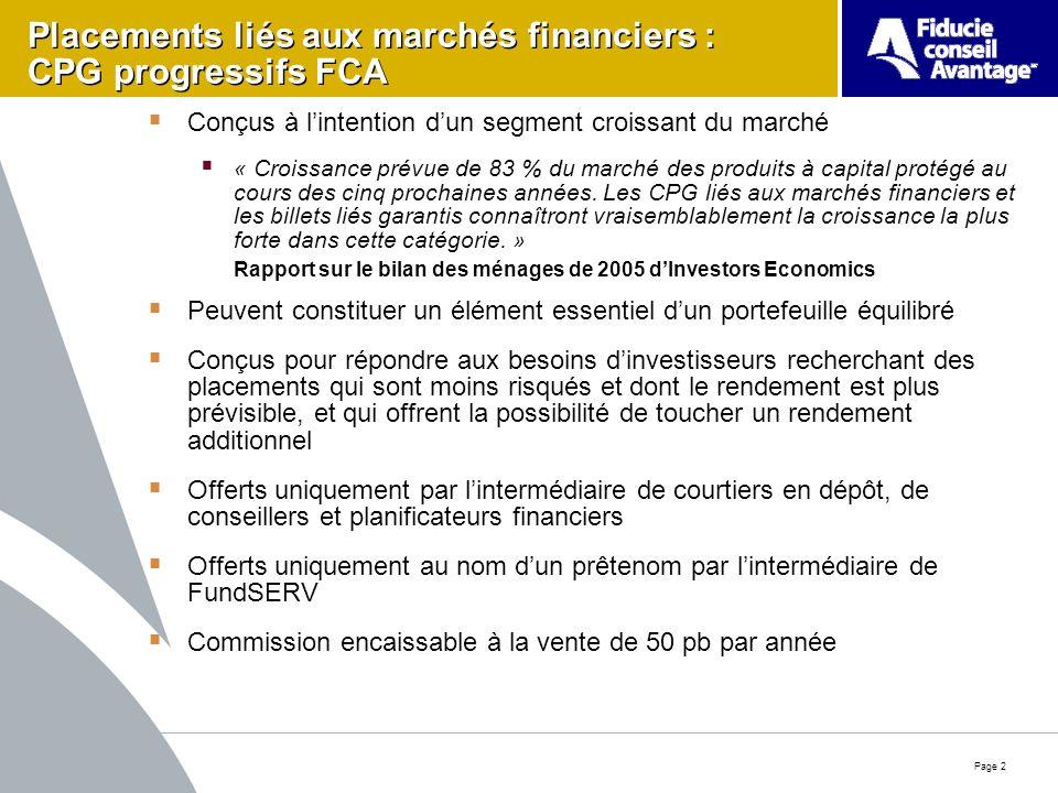 Page 2 Placements liés aux marchés financiers : CPG progressifs FCA Conçus à lintention dun segment croissant du marché « Croissance prévue de 83 % du marché des produits à capital protégé au cours des cinq prochaines années.