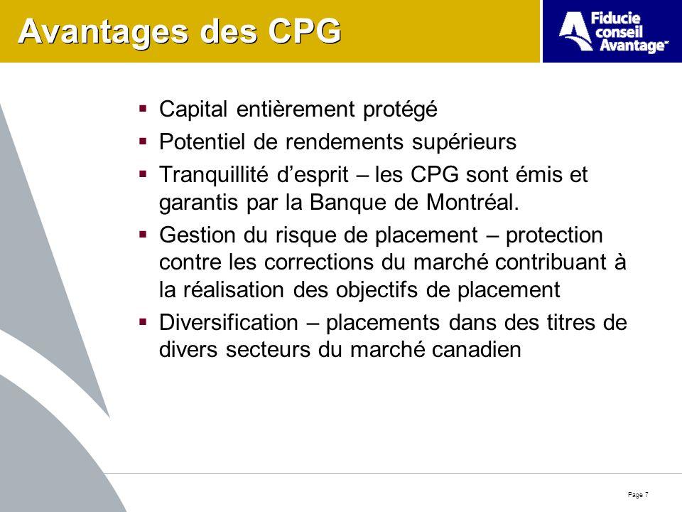 Page 7 Avantages des CPG Capital entièrement protégé Potentiel de rendements supérieurs Tranquillité desprit – les CPG sont émis et garantis par la Banque de Montréal.