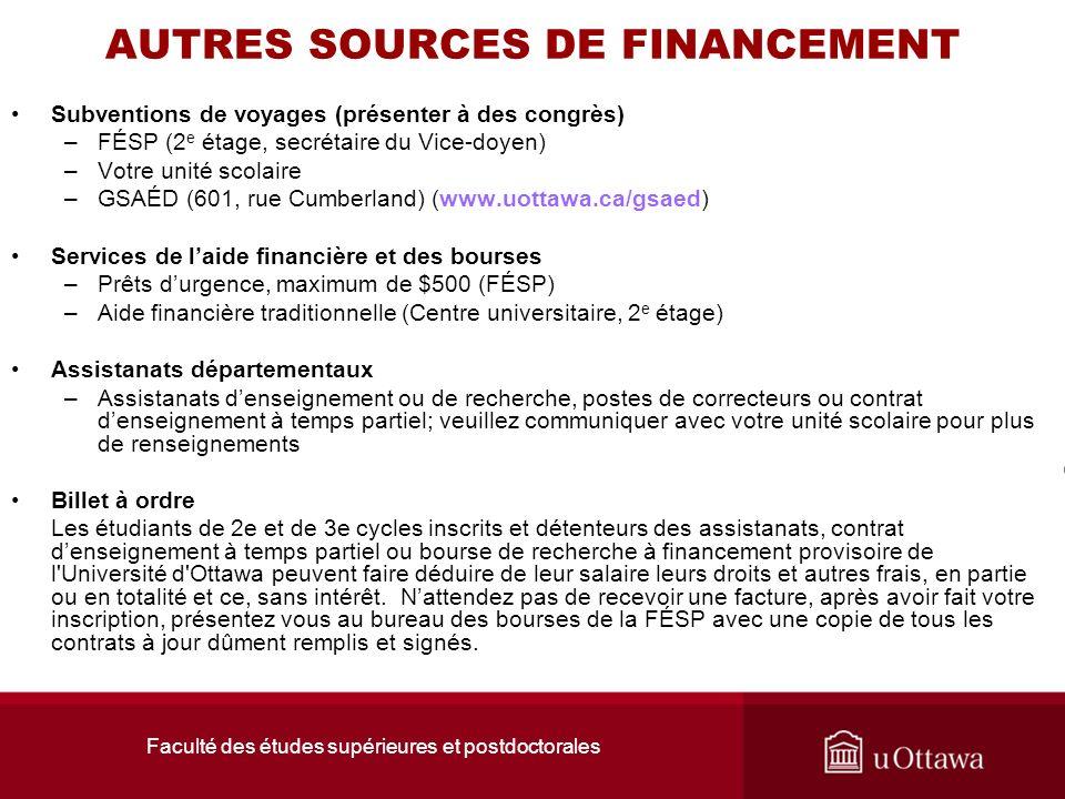 Faculté des études supérieures et postdoctorales AUTRES SOURCES DE FINANCEMENT Subventions de voyages (présenter à des congrès) –FÉSP (2 e étage, secr