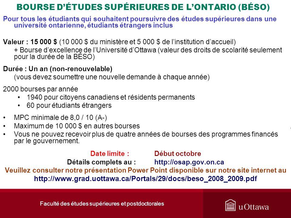 Faculté des études supérieures et postdoctorales BOURSE DÉTUDES SUPÉRIEURES DE LONTARIO (BÉSO) Pour tous les étudiants qui souhaitent poursuivre des é