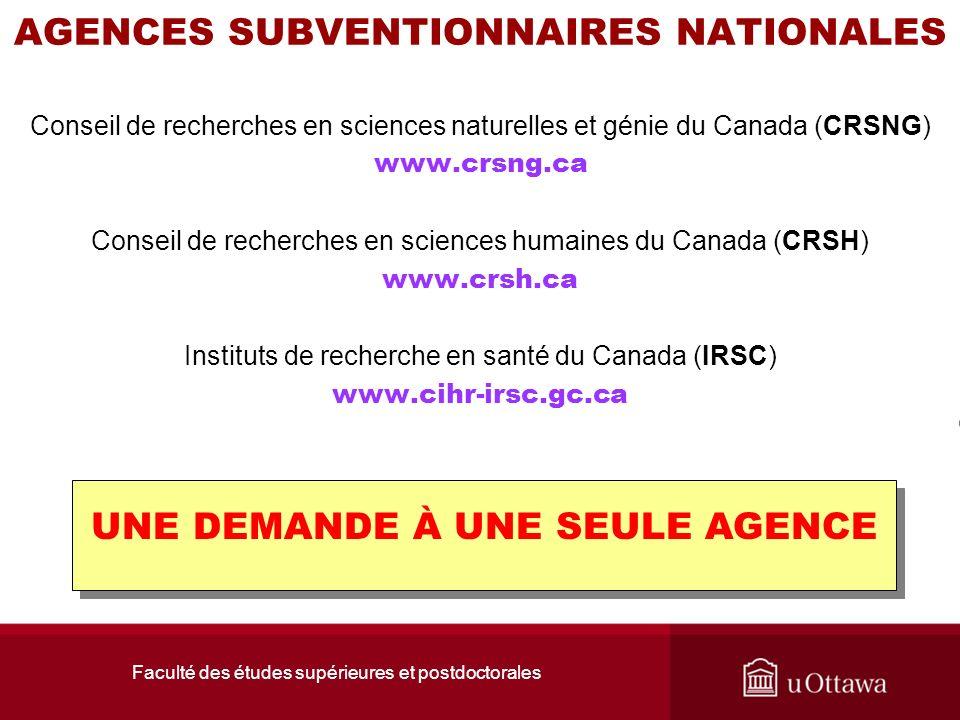 Faculté des études supérieures et postdoctorales AGENCES SUBVENTIONNAIRES NATIONALES Conseil de recherches en sciences naturelles et génie du Canada (
