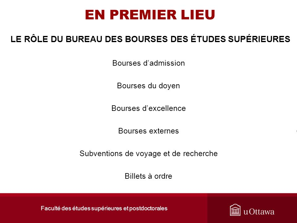 Faculté des études supérieures et postdoctorales LA FÉSP
