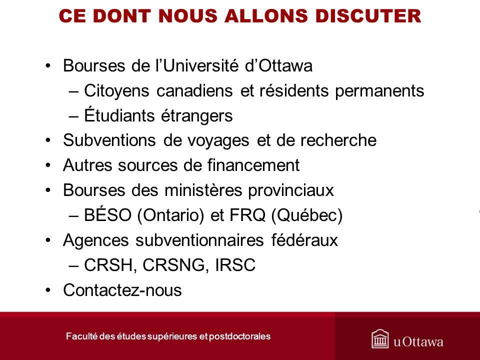 Faculté des études supérieures et postdoctorales CE DONT NOUS ALLONS DISCUTER Bourses de lUniversité dOttawa –Citoyens canadiens et résidents permanen