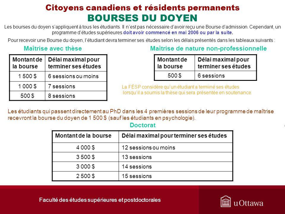 Faculté des études supérieures et postdoctorales Citoyens canadiens et résidents permanents BOURSES DU DOYEN Les bourses du doyen sappliquent à tous l