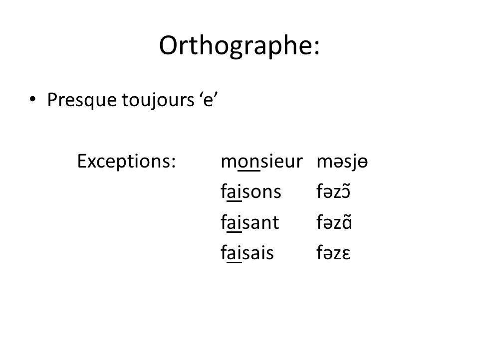 Orthographe: Presque toujours e Exceptions: monsieurməsjɵ faisonsfəzɔ̃ faisantfəzɑ̃ faisaisfəzɛ