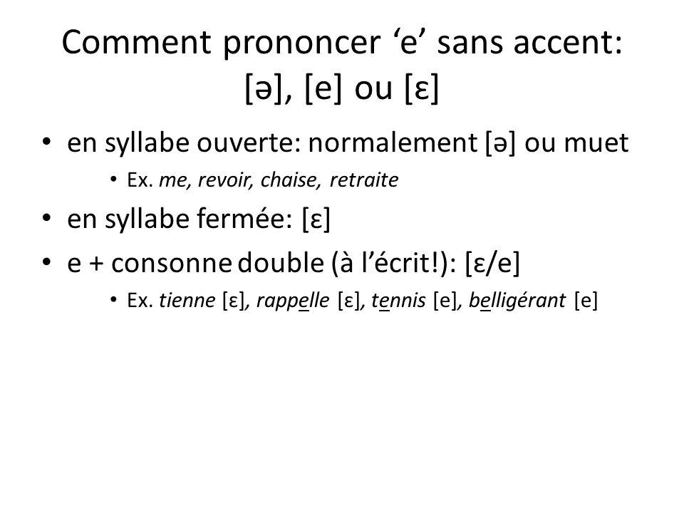 Comment prononcer e sans accent: [ə], [e] ou [ɛ] en syllabe ouverte: normalement [ə] ou muet Ex.
