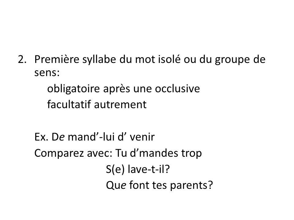 2.Première syllabe du mot isolé ou du groupe de sens: obligatoire après une occlusive facultatif autrement Ex.