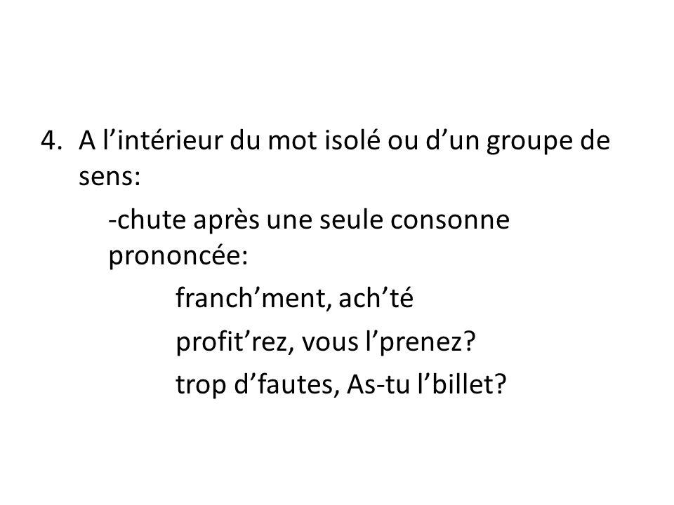 4.A lintérieur du mot isolé ou dun groupe de sens: -chute après une seule consonne prononcée: franchment, achté profitrez, vous lprenez.