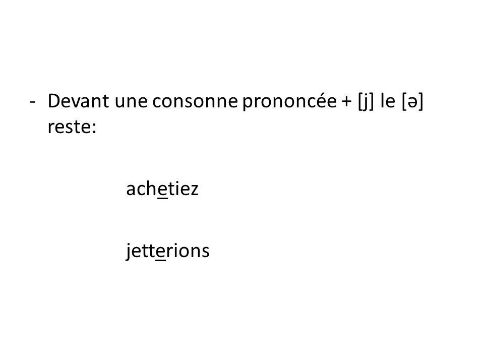 -Devant une consonne prononcée + [j] le [ə] reste: achetiez jetterions