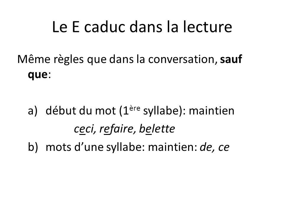 Le E caduc dans la lecture Même règles que dans la conversation, sauf que: a)début du mot (1 ère syllabe): maintien ceci, refaire, belette b) mots dune syllabe: maintien: de, ce