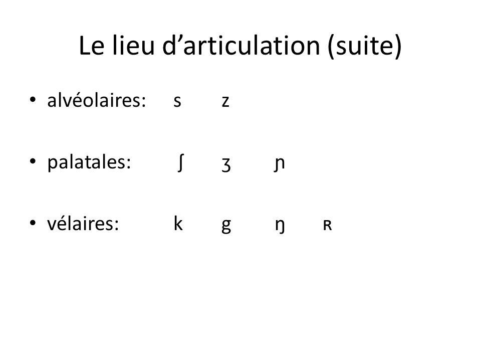 Le lieu darticulation (suite) alvéolaires:sz palatales: ʃ ʒ ɲ vélaires:kg ŋ ʀ