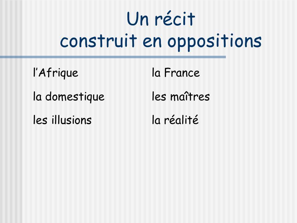 Un récit construit en oppositions lAfriquela France la domestiqueles maîtres les illusionsla réalité