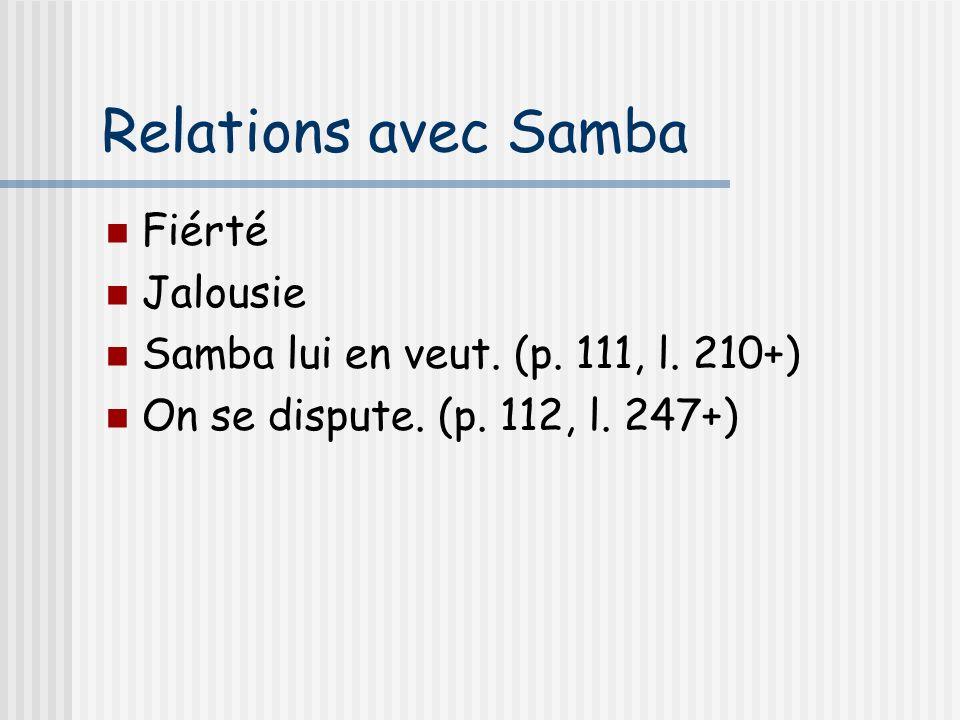 Relations avec Samba Fiérté Jalousie Samba lui en veut. (p. 111, l. 210+) On se dispute. (p. 112, l. 247+)
