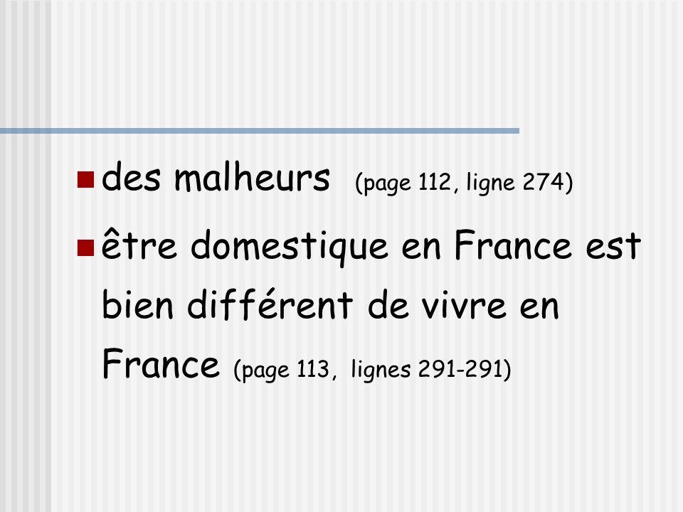 des malheurs (page 112, ligne 274) être domestique en France est bien différent de vivre en France (page 113, lignes 291-291)