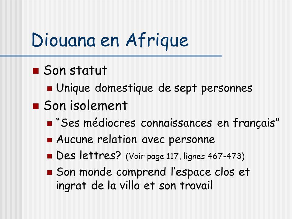 Diouana en Afrique Son statut Unique domestique de sept personnes Son isolement Ses médiocres connaissances en français Aucune relation avec personne Des lettres.