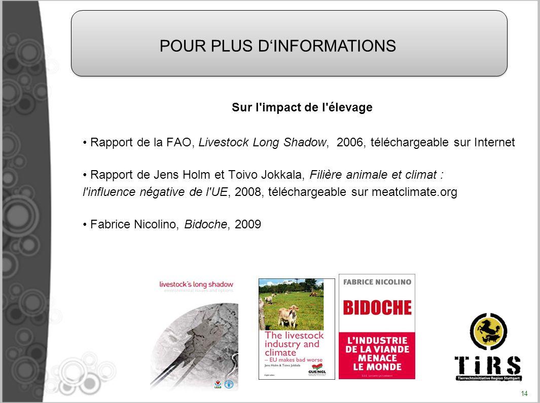 Sur l'impact de l'élevage Rapport de la FAO, Livestock Long Shadow, 2006, téléchargeable sur Internet Rapport de Jens Holm et Toivo Jokkala, Filière a