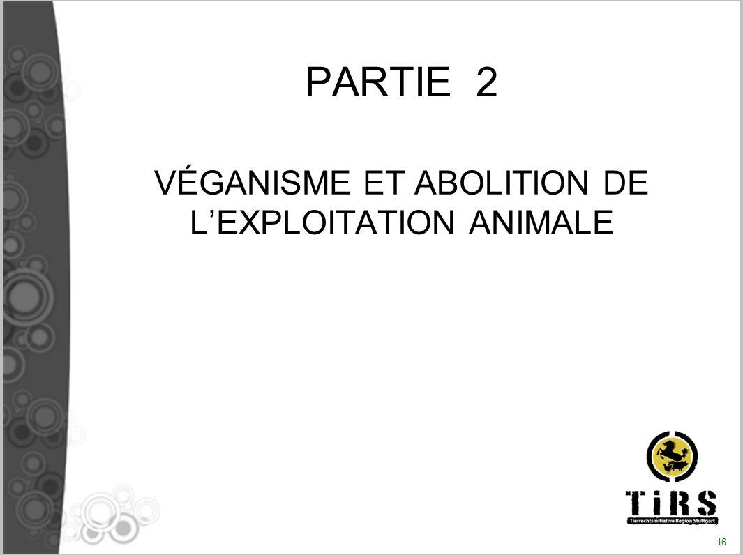 PARTIE 2 VÉGANISME ET ABOLITION DE LEXPLOITATION ANIMALE 16