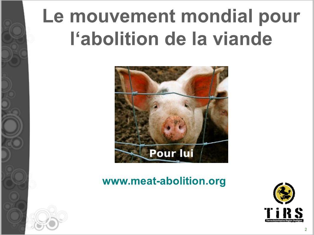 => Faire en sorte que la question de la viande (de l usage alimentaire des animaux) simpose dans le débat public/citoyen.