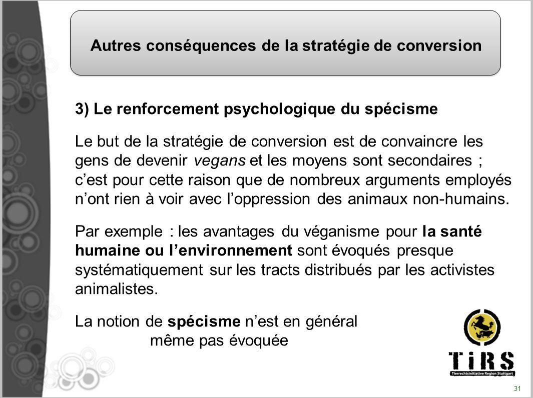 3) Le renforcement psychologique du spécisme Le but de la stratégie de conversion est de convaincre les gens de devenir vegans et les moyens sont seco