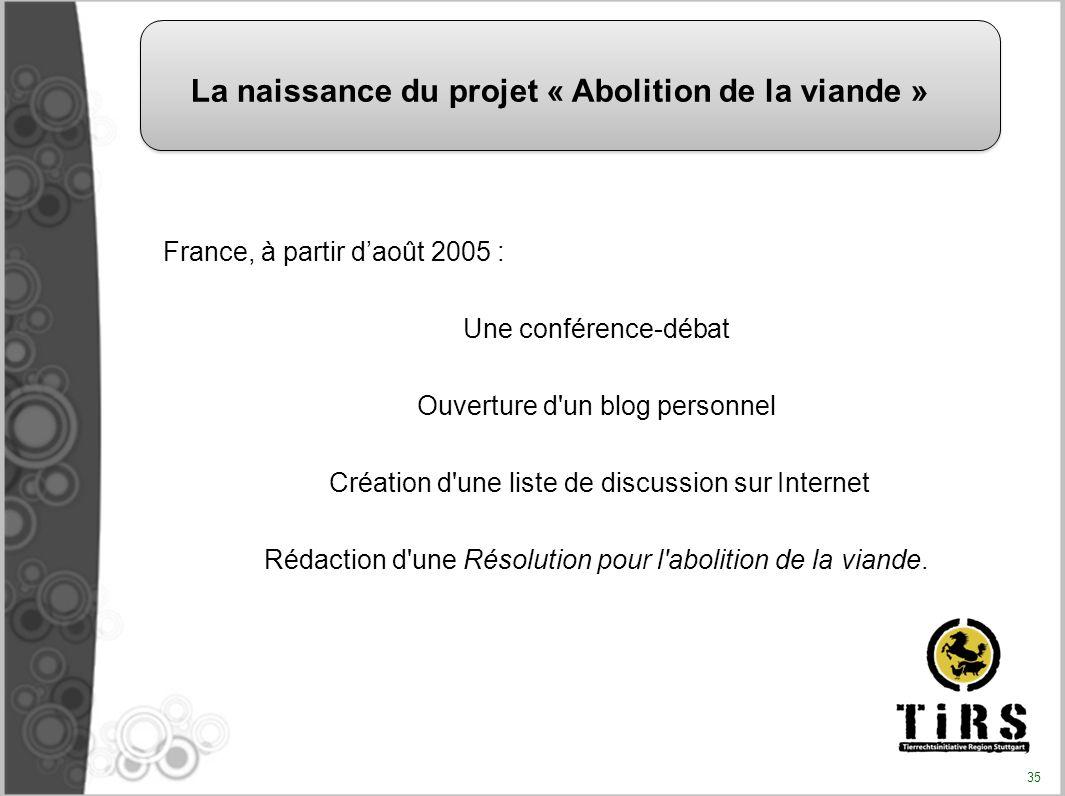 France, à partir daoût 2005 : Une conférence-débat Ouverture d'un blog personnel Création d'une liste de discussion sur Internet Rédaction d'une Résol