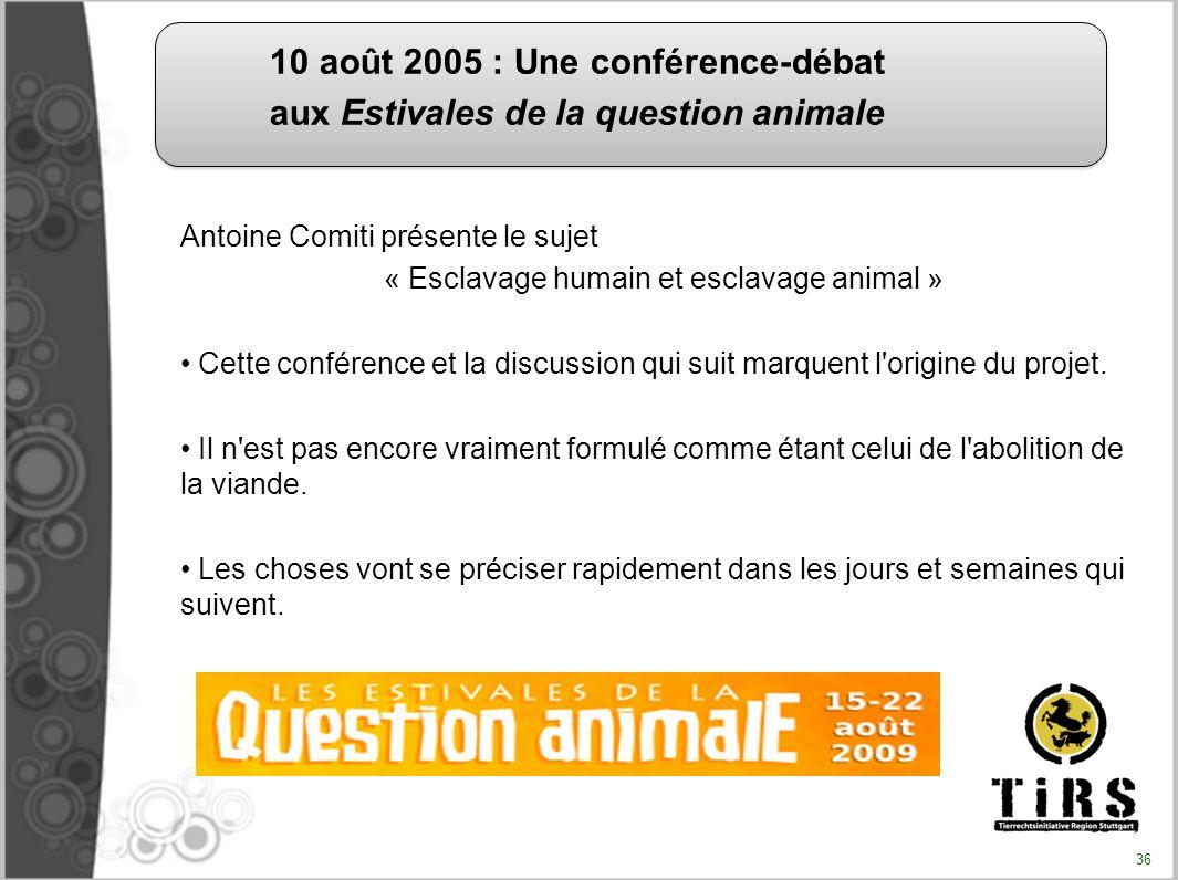 Antoine Comiti présente le sujet « Esclavage humain et esclavage animal » Cette conférence et la discussion qui suit marquent l'origine du projet. Il