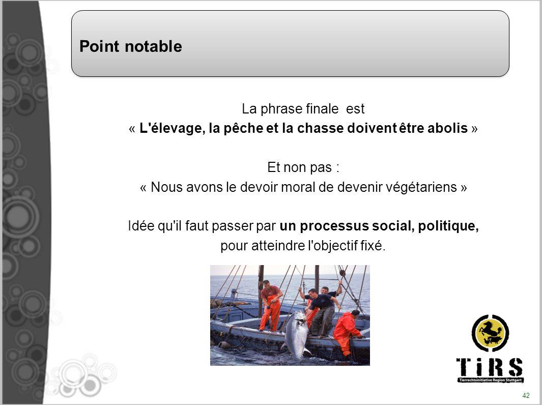 La phrase finale est « L'élevage, la pêche et la chasse doivent être abolis » Et non pas : « Nous avons le devoir moral de devenir végétariens » Idée