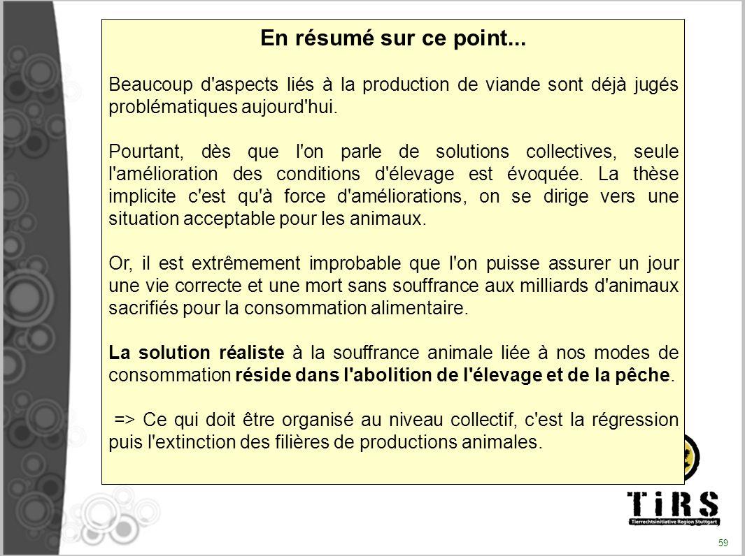 En résumé sur ce point... Beaucoup d'aspects liés à la production de viande sont déjà jugés problématiques aujourd'hui. Pourtant, dès que l'on parle d
