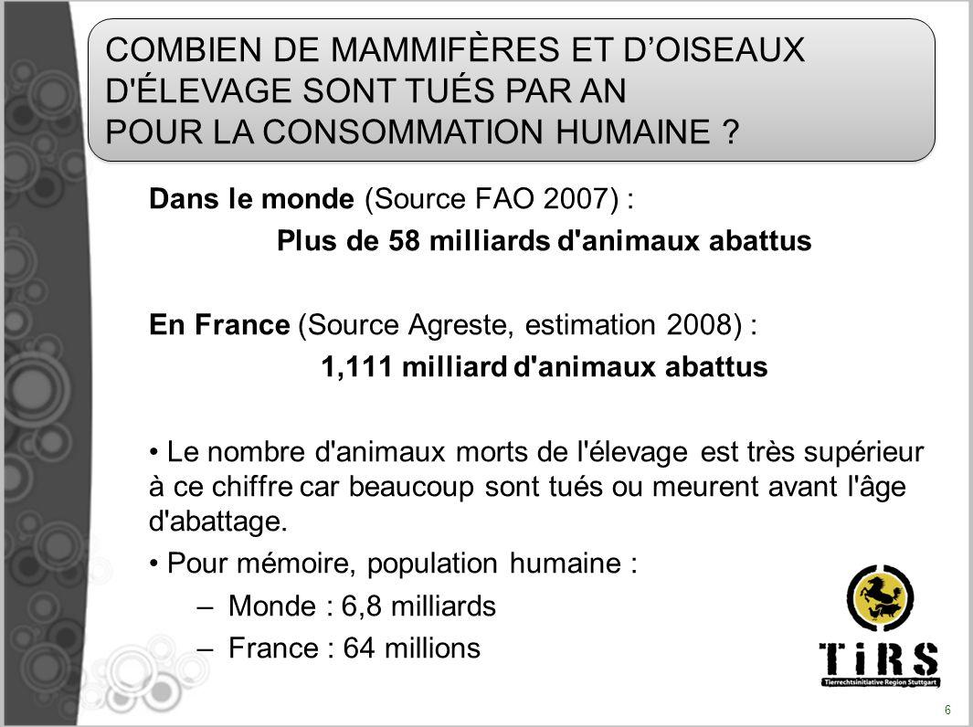 Le nombre danimaux tués chaque année pour lalimentation humaine est de 56000000000.