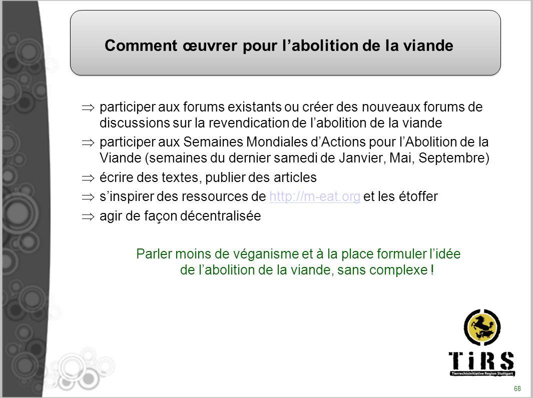 participer aux forums existants ou créer des nouveaux forums de discussions sur la revendication de labolition de la viande participer aux Semaines Mo