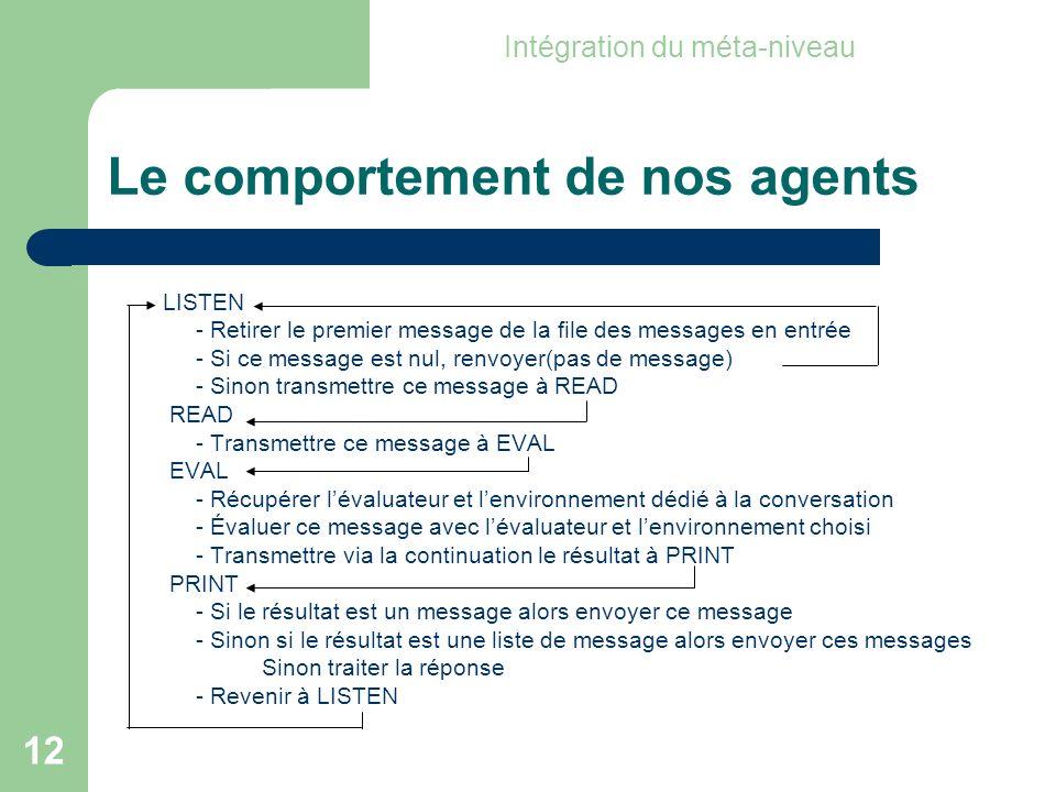 12 Le comportement de nos agents LISTEN - Retirer le premier message de la file des messages en entrée - Si ce message est nul, renvoyer(pas de message) - Sinon transmettre ce message à READ READ - Transmettre ce message à EVAL EVAL - Récupérer lévaluateur et lenvironnement dédié à la conversation - Évaluer ce message avec lévaluateur et lenvironnement choisi - Transmettre via la continuation le résultat à PRINT PRINT - Si le résultat est un message alors envoyer ce message - Sinon si le résultat est une liste de message alors envoyer ces messages Sinon traiter la réponse - Revenir à LISTEN Intégration du méta-niveau