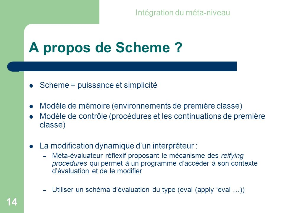 14 A propos de Scheme .
