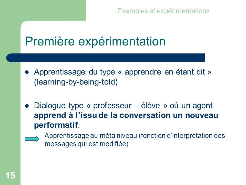 15 Première expérimentation Apprentissage du type « apprendre en étant dit » (learning-by-being-told) Dialogue type « professeur – élève » où un agent apprend à lissu de la conversation un nouveau performatif.