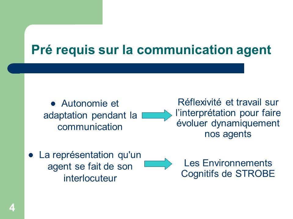 4 Pré requis sur la communication agent Autonomie et adaptation pendant la communication La représentation qu un agent se fait de son interlocuteur Réflexivité et travail sur linterprétation pour faire évoluer dynamiquement nos agents Les Environnements Cognitifs de STROBE