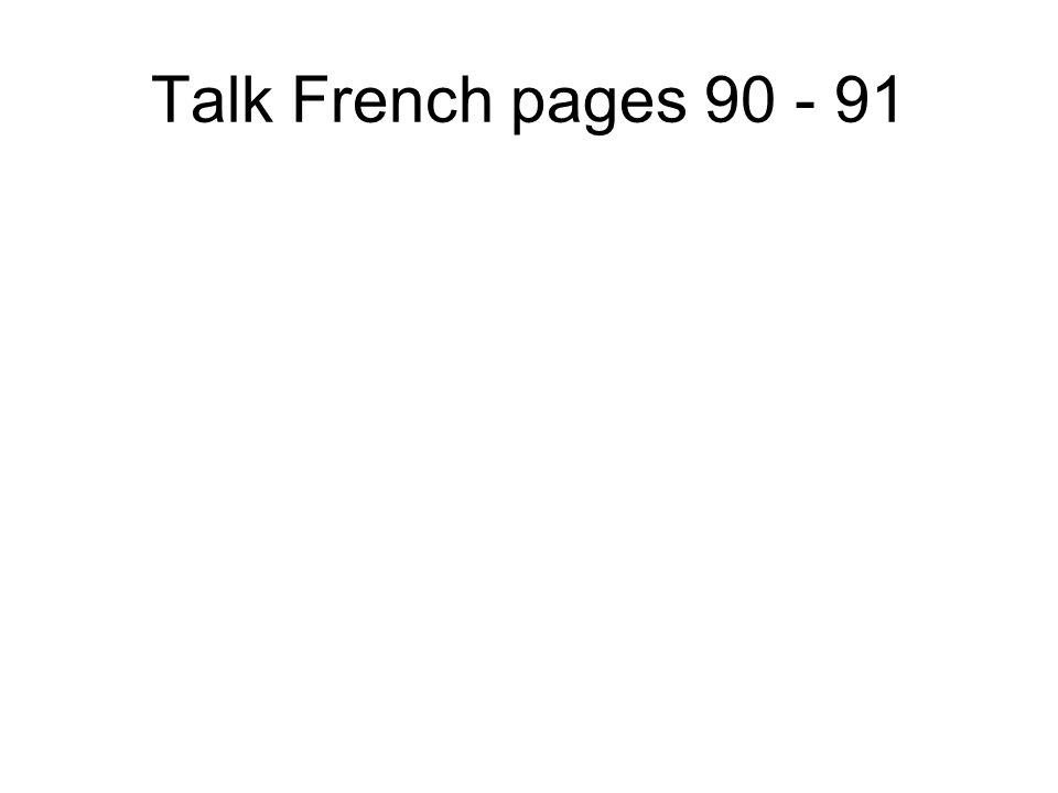 Talk French pages 88 - 89