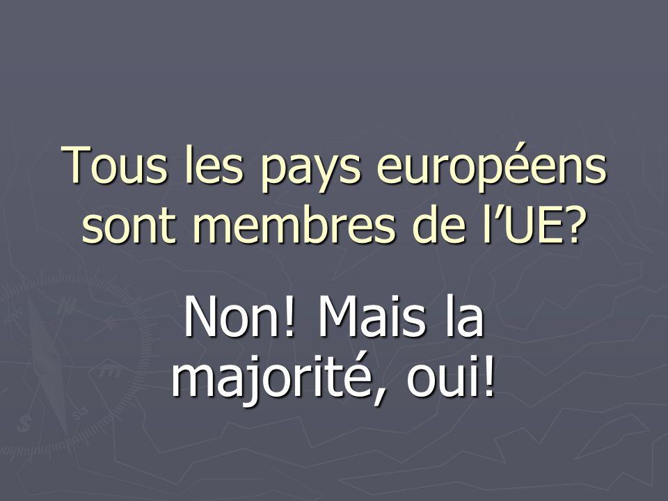 Tous les pays européens sont membres de lUE Non! Mais la majorité, oui!
