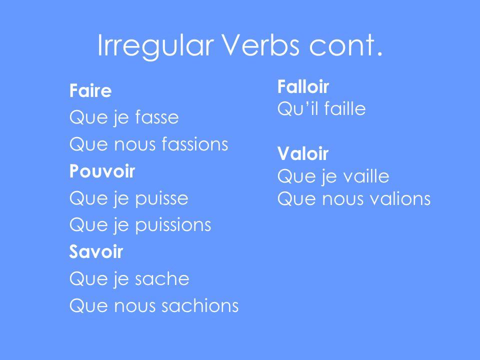 Irregular Verbs cont.