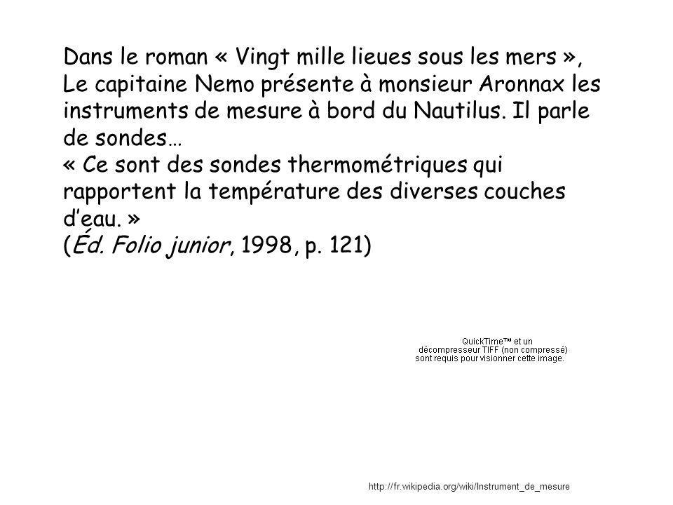 Dans le roman « Vingt mille lieues sous les mers », Le capitaine Nemo présente à monsieur Aronnax les instruments de mesure à bord du Nautilus. Il par