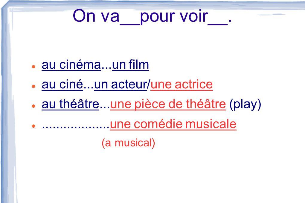 On va__pour voir__. au cinéma...un film au ciné...un acteur/une actrice au théâtre...une pièce de théâtre (play)...................une comédie musical