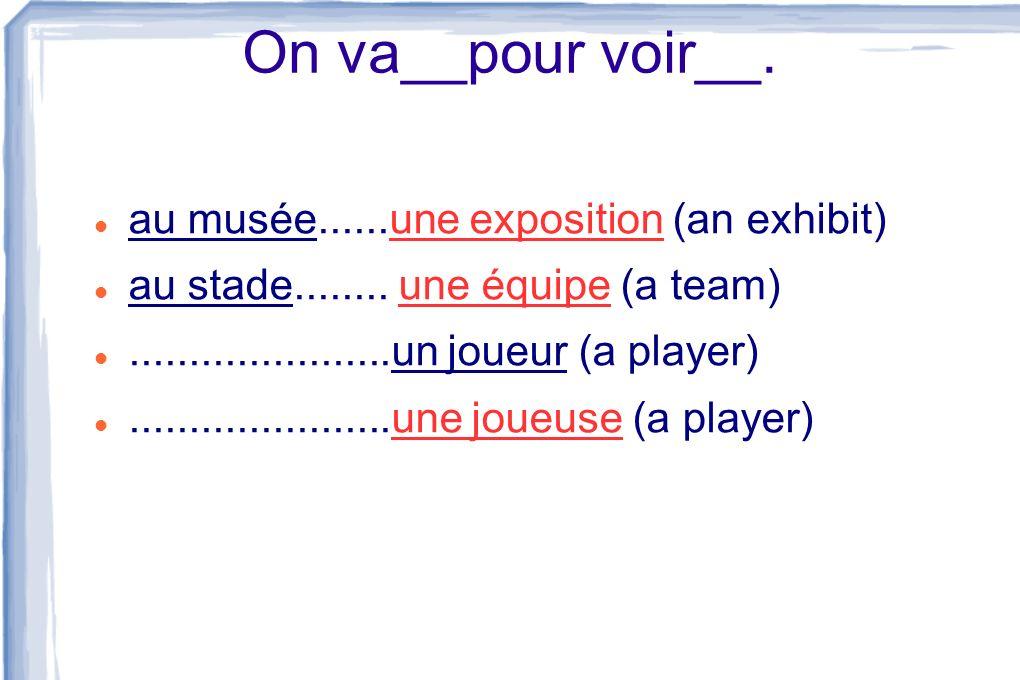 On va__pour voir__. au musée......une exposition (an exhibit) au stade........ une équipe (a team)......................un joueur (a player)..........