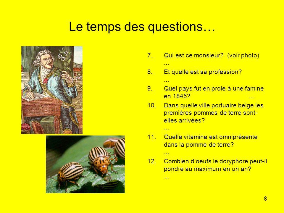 8 Le temps des questions… 7.Qui est ce monsieur? (voir photo)... 8.Et quelle est sa profession?... 9.Quel pays fut en proie à une famine en 1845?... 1