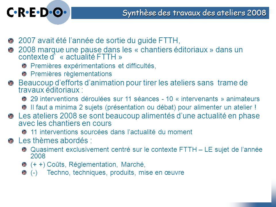 Synthèse des travaux des ateliers 2008 2007 avait été lannée de sortie du guide FTTH, 2008 marque une pause dans les « chantiers éditoriaux » dans un