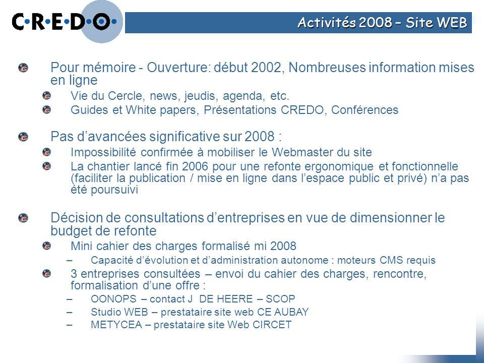 Pour mémoire - Ouverture: début 2002, Nombreuses information mises en ligne Vie du Cercle, news, jeudis, agenda, etc. Guides et White papers, Présenta