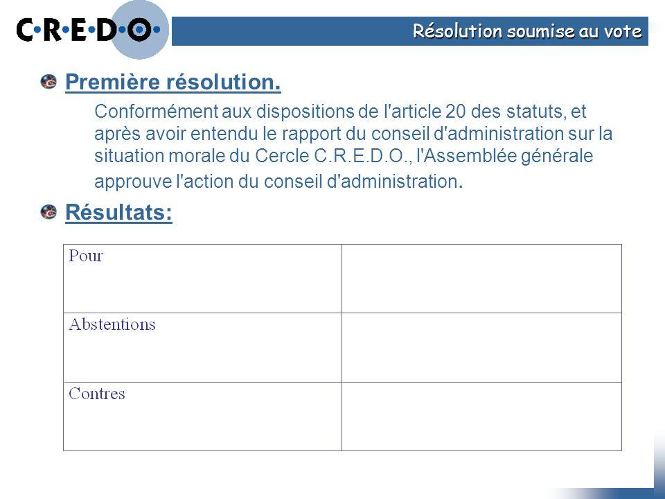 Première résolution. Conformément aux dispositions de l'article 20 des statuts, et après avoir entendu le rapport du conseil d'administration sur la s