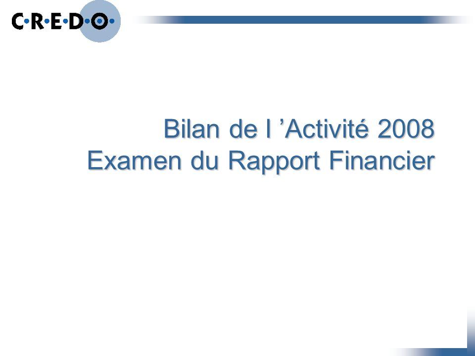 Bilan de l Activité 2008 Examen du Rapport Financier