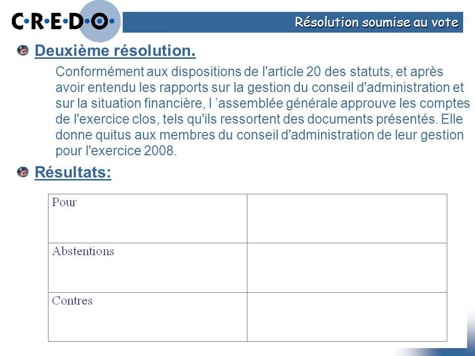 Deuxième résolution. Conformément aux dispositions de l'article 20 des statuts, et après avoir entendu les rapports sur la gestion du conseil d'admini