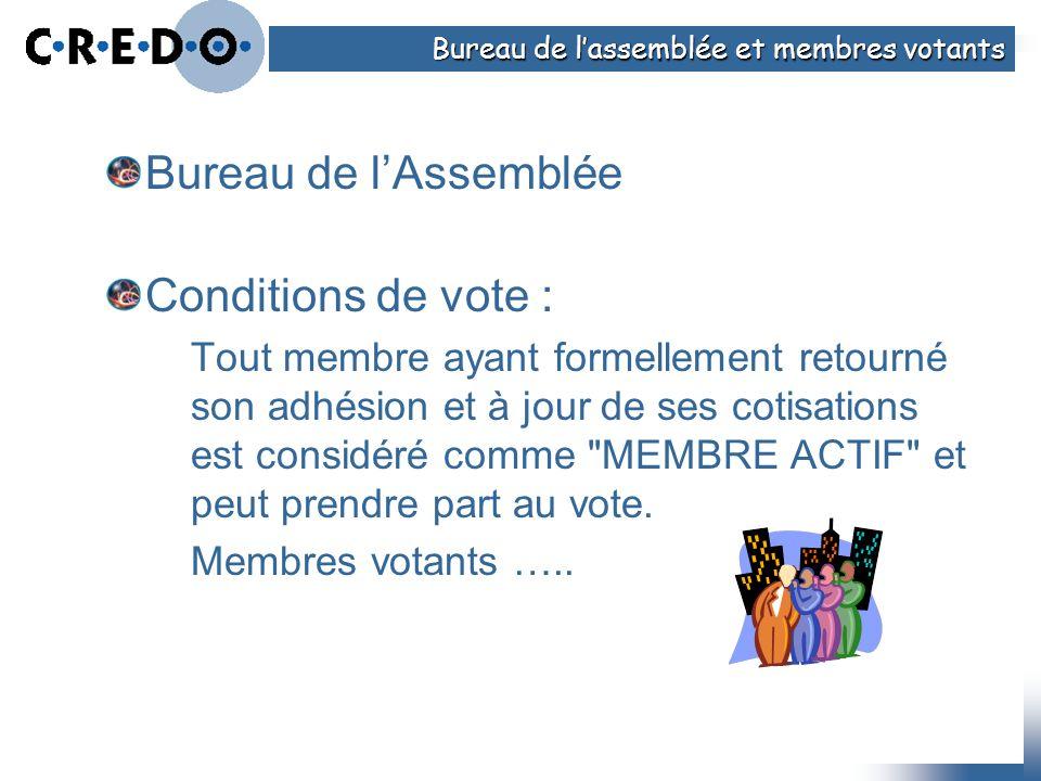 Bureau de lAssemblée Conditions de vote : Tout membre ayant formellement retourné son adhésion et à jour de ses cotisations est considéré comme